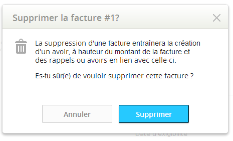 Confirmation de la suppression de la facture