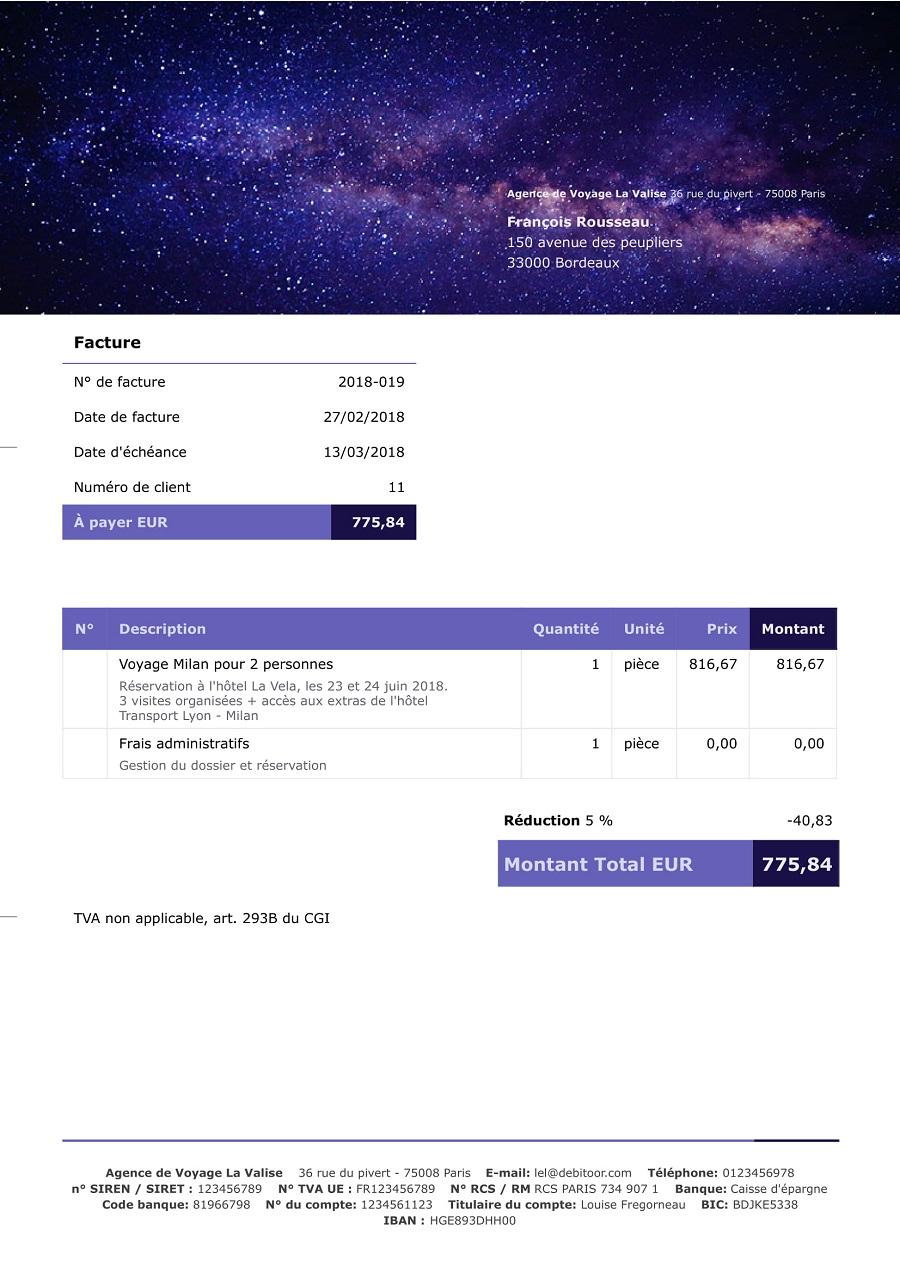 Exemplu de factură personalizat