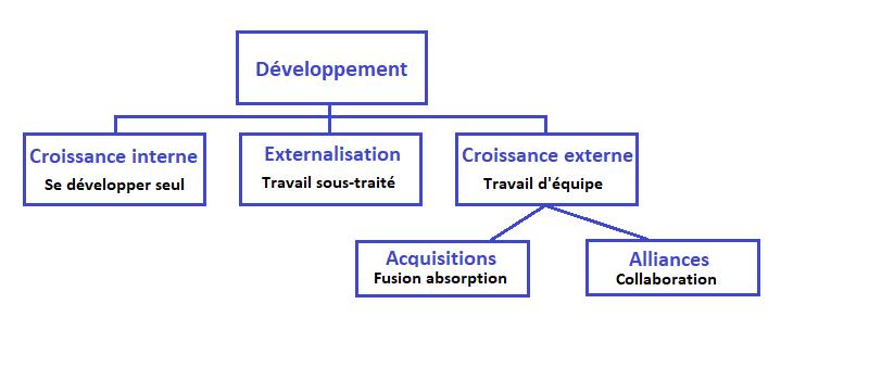 Schéma descriptif de la croissance interne, de la croissance externe et de l'externalisation