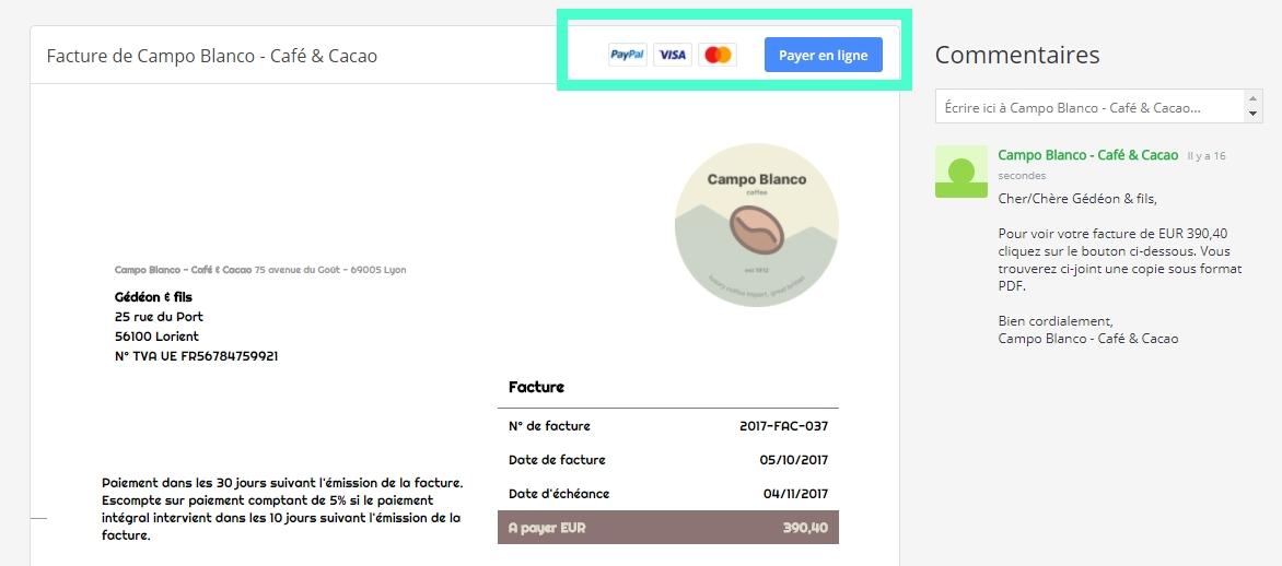 Option de paiement en ligne dans les factures créées et envoyées avec Debitoor