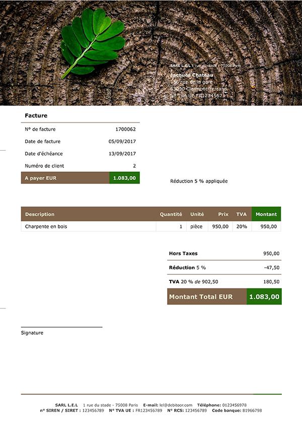 exemple d'une facture légumes agriculture biologique